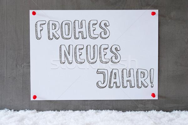 étiquette ciment mur neige nouvelle année texte Photo stock © Nelosa