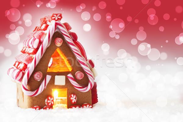 Piernik domu czerwony bokeh kopia przestrzeń śniegu Zdjęcia stock © Nelosa