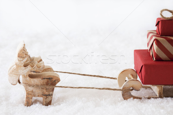 Reindeer With Sled, White Background, Copy Space Stock photo © Nelosa