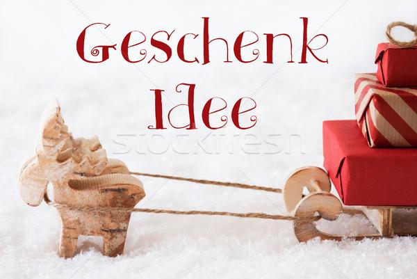 Stockfoto: Rendier · sneeuw · geschenk · idee · tekst · eland
