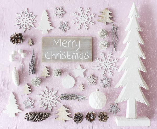 Decoration, Flat Lay, Text Merry Christmas, Snowflakes Stock photo © Nelosa