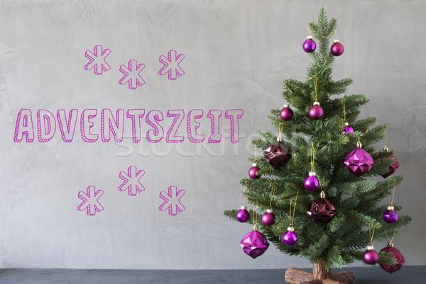 Karácsonyfa cement fal advent évszakok lila Stock fotó © Nelosa