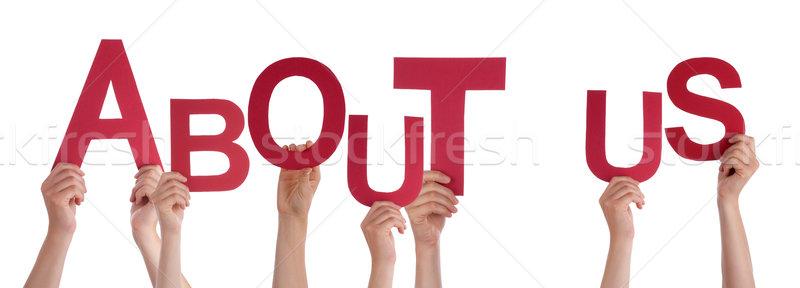 люди рук красный слово о компании Сток-фото © Nelosa