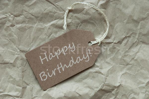 Beige Label With Happy Birthday Paper Background Stock photo © Nelosa