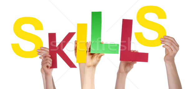 Many People Hands Holding Colorful Word Skills Stock photo © Nelosa