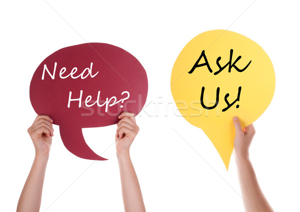 Red And Yellow Speech Balloon With Need Help Ask Us Stock photo © Nelosa