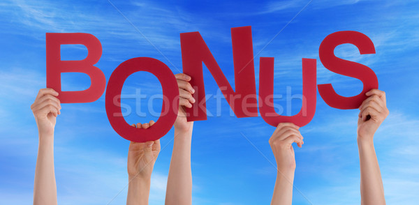 Many People Hands Holding Red Word Bonus Blue Sky Stock photo © Nelosa