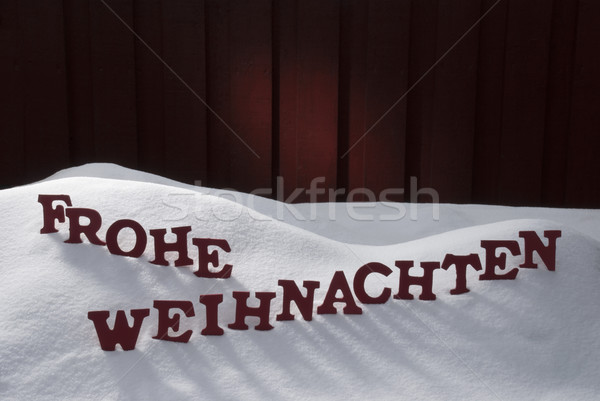 Frohe Weihnachten Means Merry Christmas On Snow Stock photo © Nelosa