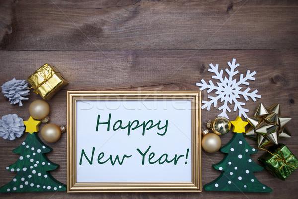 çerçeve Noel dekorasyon metin happy new year altın Stok fotoğraf © Nelosa