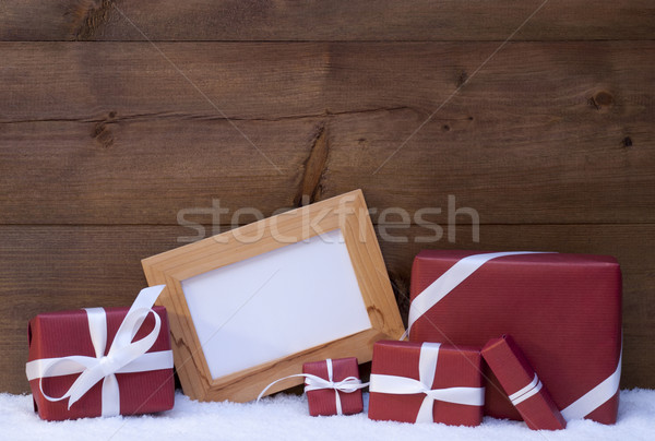 Red Christmas Decoration, Gifts, Snow, Copy Space Stock photo © Nelosa