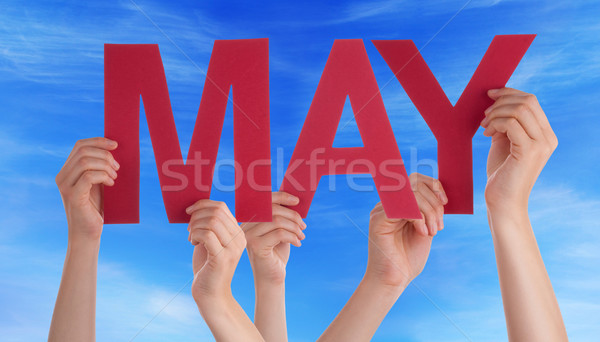 Many People Hands Holding Red Straight Word May Blue Sky Stock photo © Nelosa