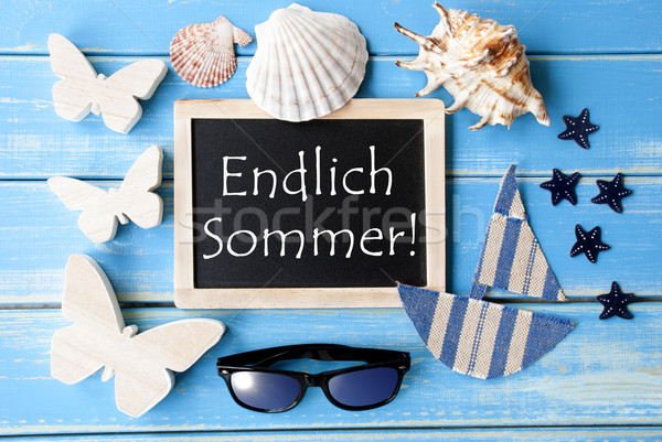 Blackboard With Maritime Decoration, Endlich Sommer Means Happy Summer Stock photo © Nelosa