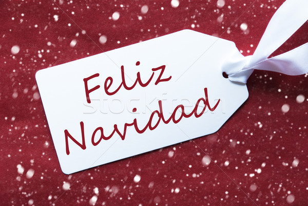 Label On Red Background, Snowflakes, Feliz Navidad Means Merry Christmas Stock photo © Nelosa