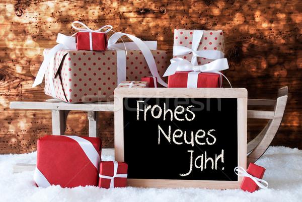 Stockfoto: Slee · geschenken · sneeuw · bokeh · nieuwjaar · schoolbord