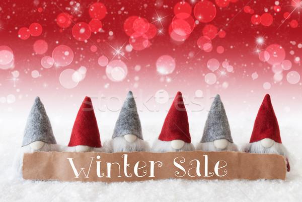 Gnomes, Red Background, Bokeh, Stars, Text Winter Sale Stock photo © Nelosa
