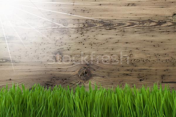 Sunny Wooden Background, Gras, Copy Space Stock photo © Nelosa