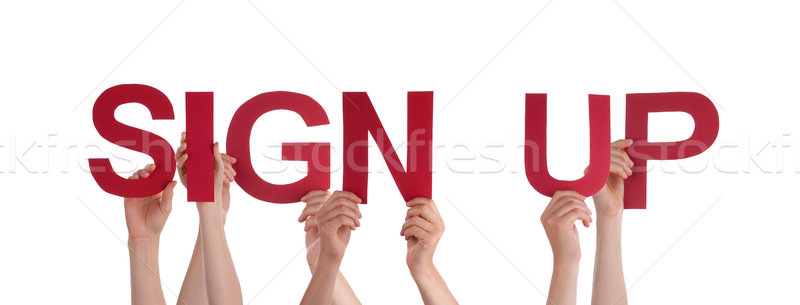 People Holding Sign Up Stock photo © Nelosa