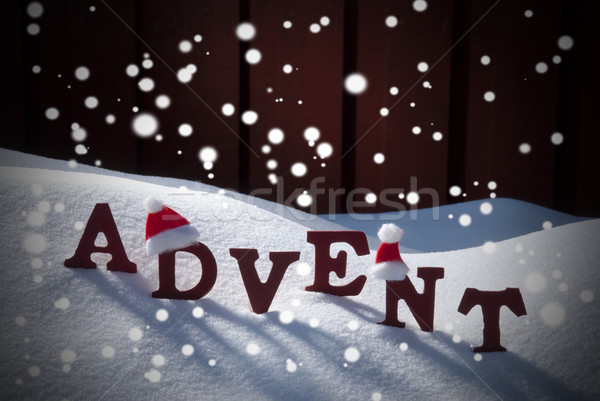 Advent Mean Christmas Time Snow Santa Hat Stock photo © Nelosa