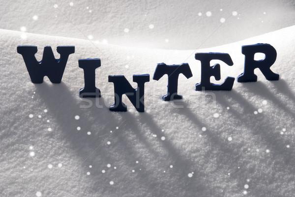 Blue Word Winter On Snow, Snowflakes Stock photo © Nelosa