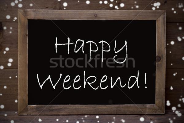 Chalkboard With Happy Weekend, Snowflakes Stock photo © Nelosa