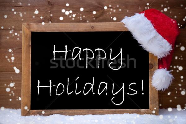 Stock photo: Christmas Card, Chalkboard, Happy Holidays, Snowflakes, Snow