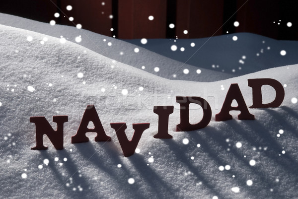 Card With Snow And Word Navidad Mean Christmas, Snowflakes Stock photo © Nelosa