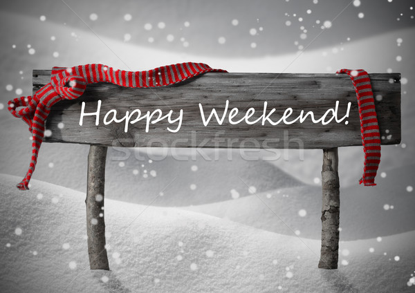 Gray Christmas Sign Happy Weekend, Snow, Red Ribbon, Snowflakes Stock photo © Nelosa