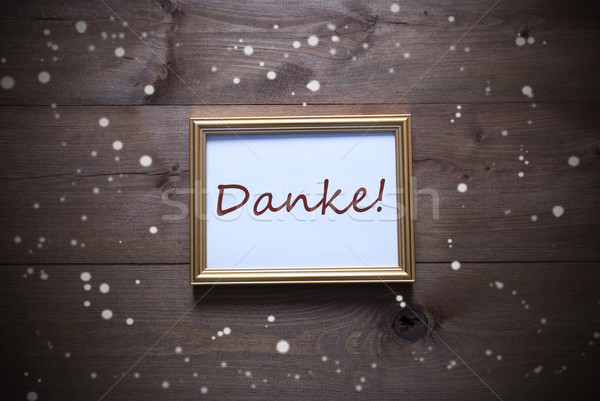 Golden Picture Frame With Danke Means Thank You And Snowflakes Stock photo © Nelosa