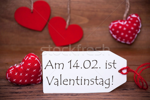 One Label With Romantic Hearts Decoration, Valentinstag Mean Valentines Day  Stock Photo © Nelosa