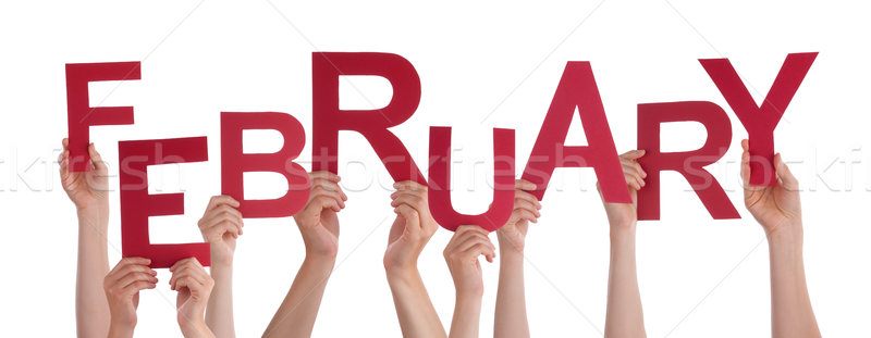 Many People Hands Holding Red Word February Stock photo © Nelosa