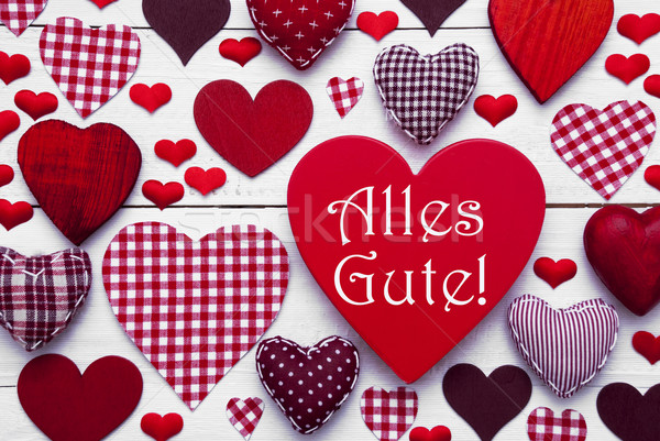 Red Heart Texture With Alles Gute Means Best Wishes Stock photo © Nelosa