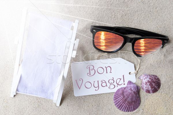 Sunny Flat Lay Summer Label Bon Voyage Means Good Trip Stock photo © Nelosa