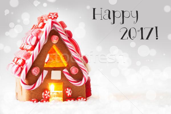 пряничный дома серебро текста счастливым декораций Сток-фото © Nelosa