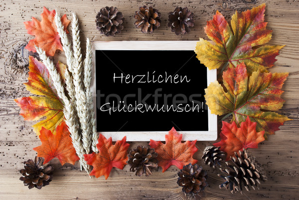Chalkboard With Autumn Decoration, Glueckwunsch Means Congratulations Stock photo © Nelosa