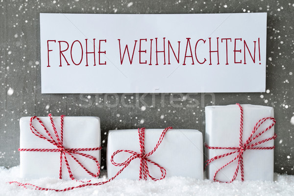 White Gift With Snowflakes, Frohe Weihnachten Means Merry Christ Stock photo © Nelosa