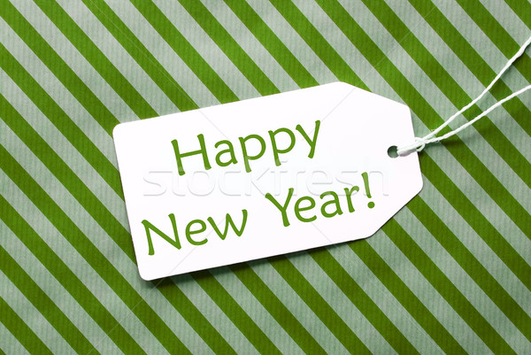 Label On Green Wrapping Paper, Text Happy New Year Stock photo © Nelosa