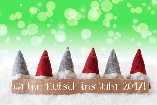 Gnomes, Green Bokeh, Stars, Guten Rutsch 2017 Means New Year Stock photo © Nelosa
