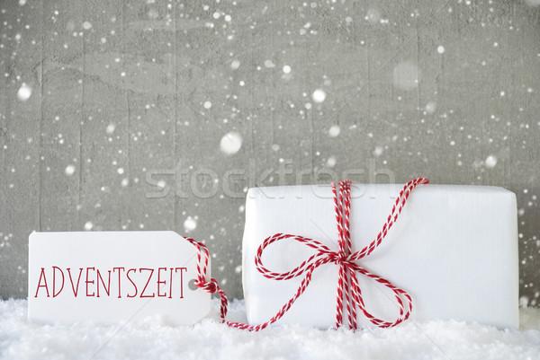 Ajándék cement hópelyhek advent évszak egy Stock fotó © Nelosa