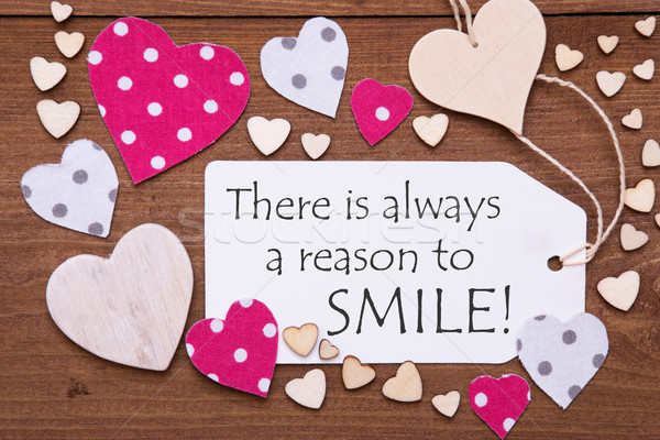 Label, Pink Hearts, Quote Always Reason To Smile Stock photo © Nelosa