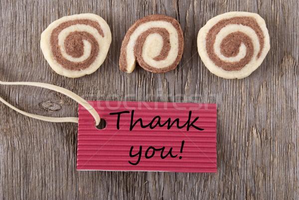 赤 ラベル ありがとう クッキー 木製 ホーム ストックフォト © Nelosa