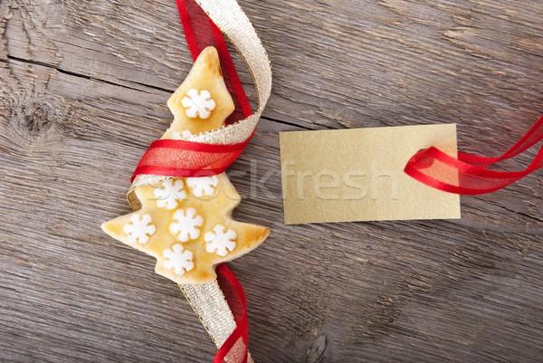 Stockfoto: Gouden · label · exemplaar · ruimte · christmas · cookie · tag