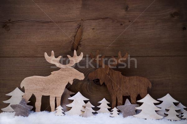 Karácsony dekoráció jávorszarvas pár szeretet hó Stock fotó © Nelosa