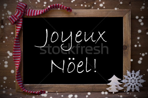 Chalkboard  Joyeux Noel Mean Merry Christmas, Snowflakes Stock photo © Nelosa