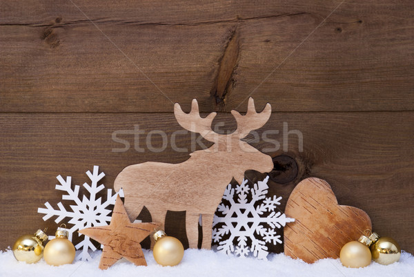 Golden Christmas Decoration, Snow, Moose, Hear, Snowflake Stock photo © Nelosa