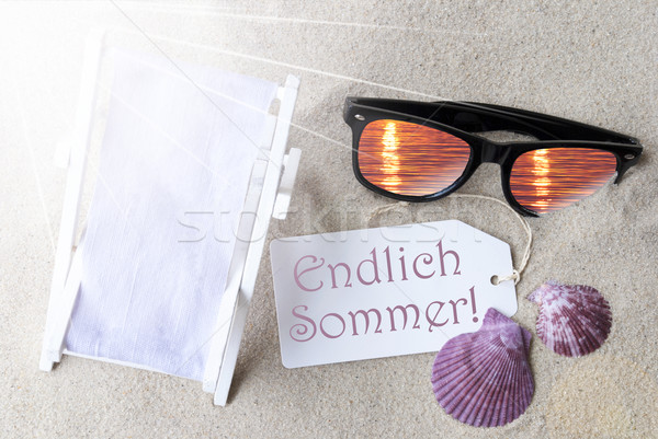 Sunny Flat Lay Label Endlich Sommer Means Hello Summer Stock photo © Nelosa