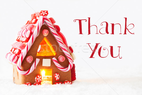 Gingerbread House, White Background, Text Thank You Stock photo © Nelosa