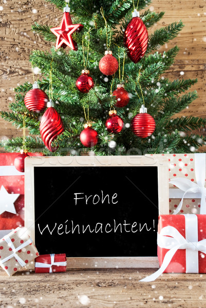Colorful Tree With Snowflakes, Frohe Weihnachten Means Merry Chr Stock photo © Nelosa