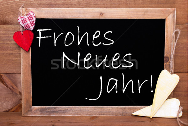 Chalkbord, Hearts, Frohes Neues Jahr Means Happy New Year Stock photo © Nelosa