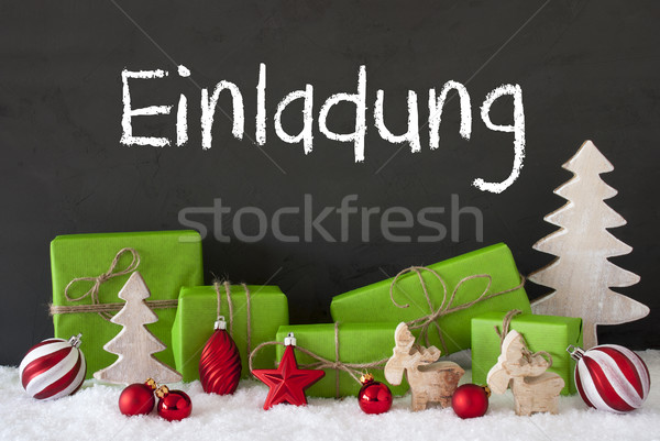 Stock photo: Christmas Decoration, Cement, Snow, Einladung Means Invitation
