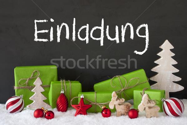 Christmas Decoration, Cement, Snow, Einladung Means Invitation Stock photo © Nelosa